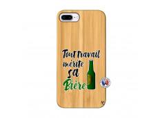 Coque iPhone 7Plus/8Plus Tout Travail Merite Sa Biere Bois Bamboo