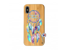 Coque iPhone X/XS Blue Painted Dreamcatcher Bois Bamboo