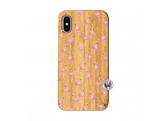 Coque Bois iPhone X/XS Flamingo