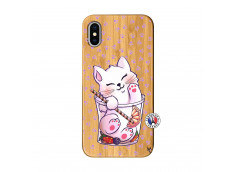 Coque Bois iPhone X/XS Smoothie Cat