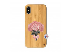 Coque iPhone X/XS Bouquet de Roses Bois Bamboo