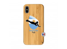 Coque iPhone X/XS Coupe du Monde Rugby-Argentine Bois Bamboo