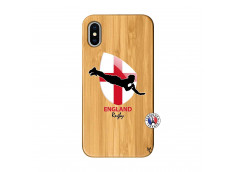 Coque iPhone X/XS Coupe du Monde Rugby-England Bois Bamboo