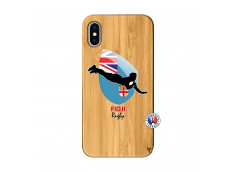 Coque iPhone X/XS Coupe du Monde Rugby Fidji Bois Bamboo