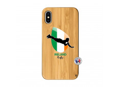 Coque iPhone X/XS Coupe du Monde Rugby-Ireland Bois Bamboo