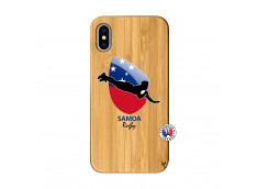 Coque iPhone X/XS Coupe du Monde Rugby-Samoa Bois Bamboo