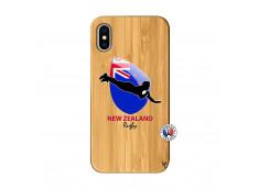 Coque iPhone X/XS Coupe du Monde Rugby- Nouvelle Zélande Bois Bamboo