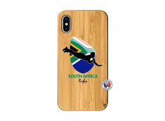 Coque iPhone X/XS Coupe du Monde Rugby-South Africa Bois Bamboo