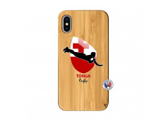 Coque iPhone X/XS Coupe du Monde Rugby-Tonga Bois Bamboo