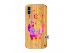 Coque iPhone X/XS Dreamcatcher Rainbow Feathers Bois Bamboo