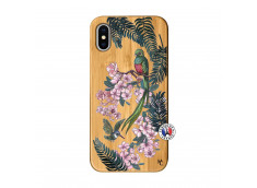Coque iPhone X/XS Flower Birds Bois Bamboo