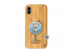 Coque iPhone X/XS Globe Trotter Bois Bamboo