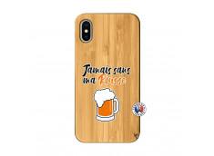 Coque iPhone X/XS Jamais Sans Ma Rousse Bois Bamboo