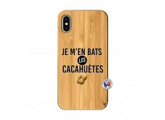 Coque iPhone X/XS Je M En Bas Les Cacahuetes Bois Bamboo