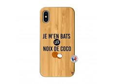 Coque iPhone X/XS Je m'en bats Les Noix De Coco Bois Bamboo