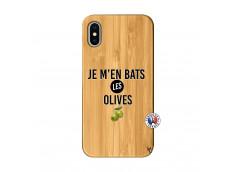 Coque iPhone X/XS Je M En Bas Les Olives Bois Bamboo