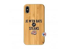 Coque iPhone X/XS Je M En Bas Les Steaks Bois Bamboo