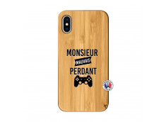 Coque iPhone X/XS Monsieur Mauvais Perdant Bois Bamboo