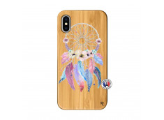 Coque iPhone X/XS Multicolor Watercolor Floral Dreamcatcher Bois Bamboo