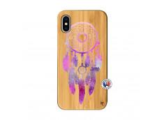 Coque iPhone X/XS Purple Dreamcatcher Bois Bamboo