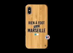 Coque iPhone X/XS Rien A Foot Allez Marseille Bois Bamboo