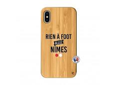 Coque iPhone X/XS Rien A Foot Allez Nimes Bois Bamboo