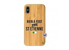 Coque iPhone X/XS Rien A Foot Allez St Etienne Bois Bamboo