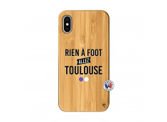 Coque iPhone X/XS Rien A Foot Allez Toulouse Bois Bamboo