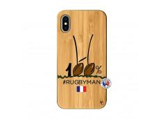 Coque iPhone X/XS 100 % Rugbyman Entre les Poteaux Bois Bamboo