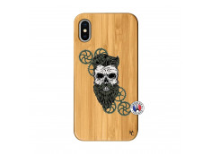 Coque iPhone X/XS Skull Hipster Bois Bamboo