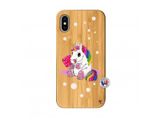 Coque iPhone X/XS Sweet Baby Licorne Bois Bamboo