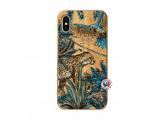 Coque iPhone X/XS Leopard Jungle Bois Bamboo