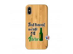 Coque iPhone X/XS Tout Travail Merite Sa Biere Bois Bamboo