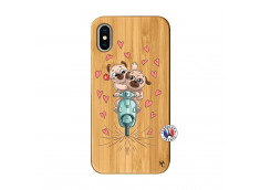 Coque iPhone X/XS Puppies Love Bois Bamboo