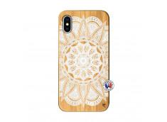 Coque iPhone X/XS White Mandala Bois Bamboo