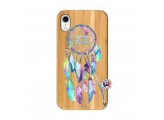 Coque iPhone XR Blue Painted Dreamcatcher Bois Bamboo