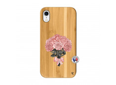 Coque iPhone XR Bouquet de Roses Bois Bamboo