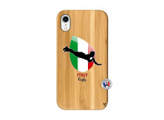 Coque iPhone XR Coupe du Monde Rugby-Italy Bois Bamboo