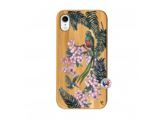Coque iPhone XR Flower Birds Bois Bamboo