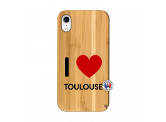 Coque iPhone XR I Love Toulouse Bois Bamboo