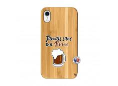 Coque iPhone XR Jamais Sans Ma Brune Bois Bamboo