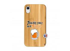 Coque iPhone XR Jamais Sans Ma Rousse Bois Bamboo