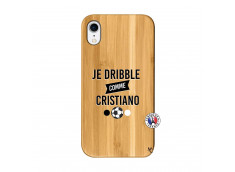 Coque iPhone XR Je Dribble Comme Cristiano Bois Bamboo