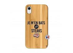 Coque iPhone XR Je M En Bas Les Steaks Bois Bamboo