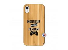 Coque iPhone XR Monsieur Mauvais Perdant Bois Bamboo