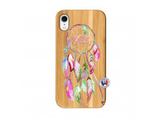 Coque iPhone XR Pink Painted Dreamcatcher Bois Bamboo