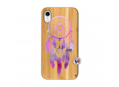 Coque iPhone XR Purple Dreamcatcher Bois Bamboo