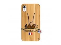 Coque iPhone XR 100 % Rugbyman Entre les Poteaux Bois Bamboo