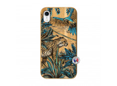Coque iPhone XR Leopard Jungle Bois Bamboo