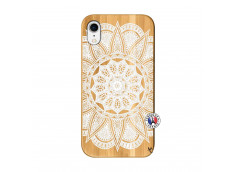 Coque iPhone XR White Mandala Bois Bamboo